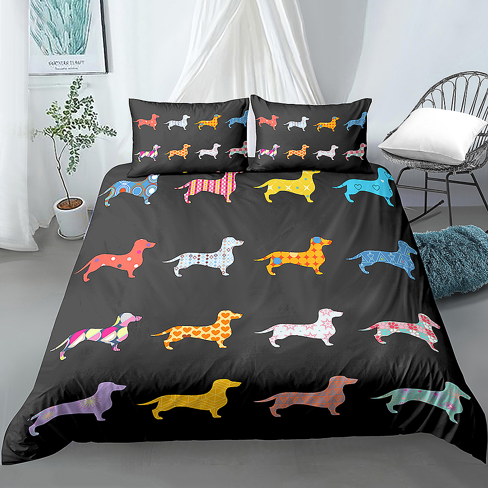 Cartoon Pet Bedding Set Dachshund Sausage Dog Duvet cover set Kids Adult Bedroom Decor Quilt Cover Home Textiles Bedclothes