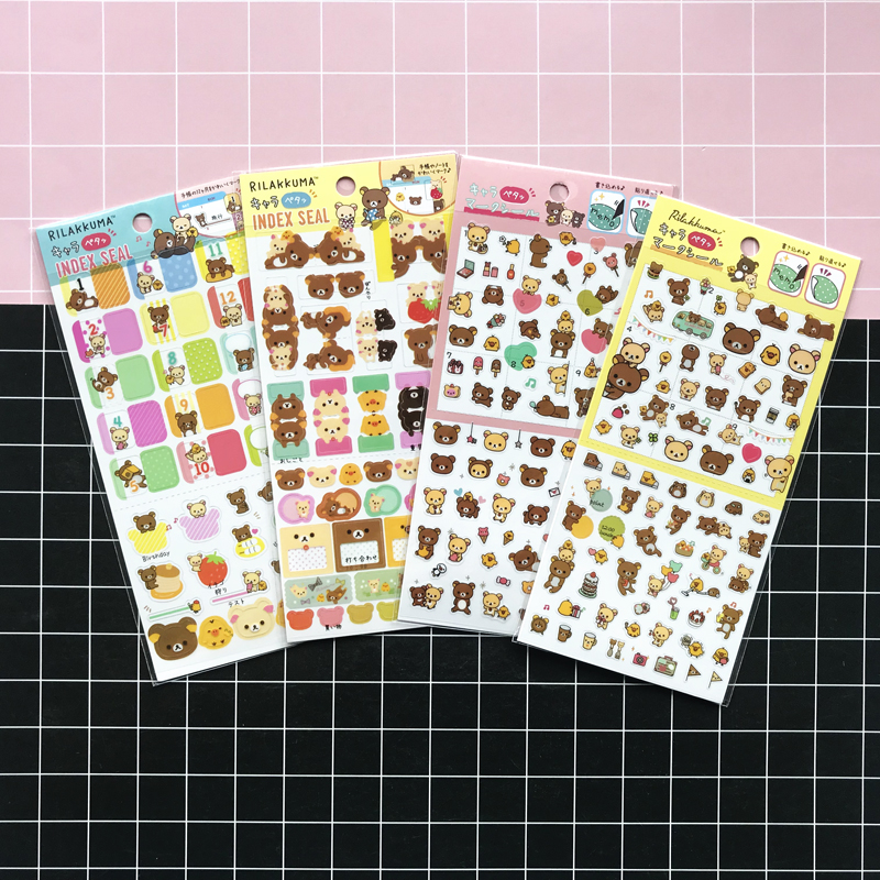 1 Sheet/Pack Kawaii Rilakkuma Bear Decorative Stickers DIY Sealing Paste Stick Label Stationery Adhesive Stickers