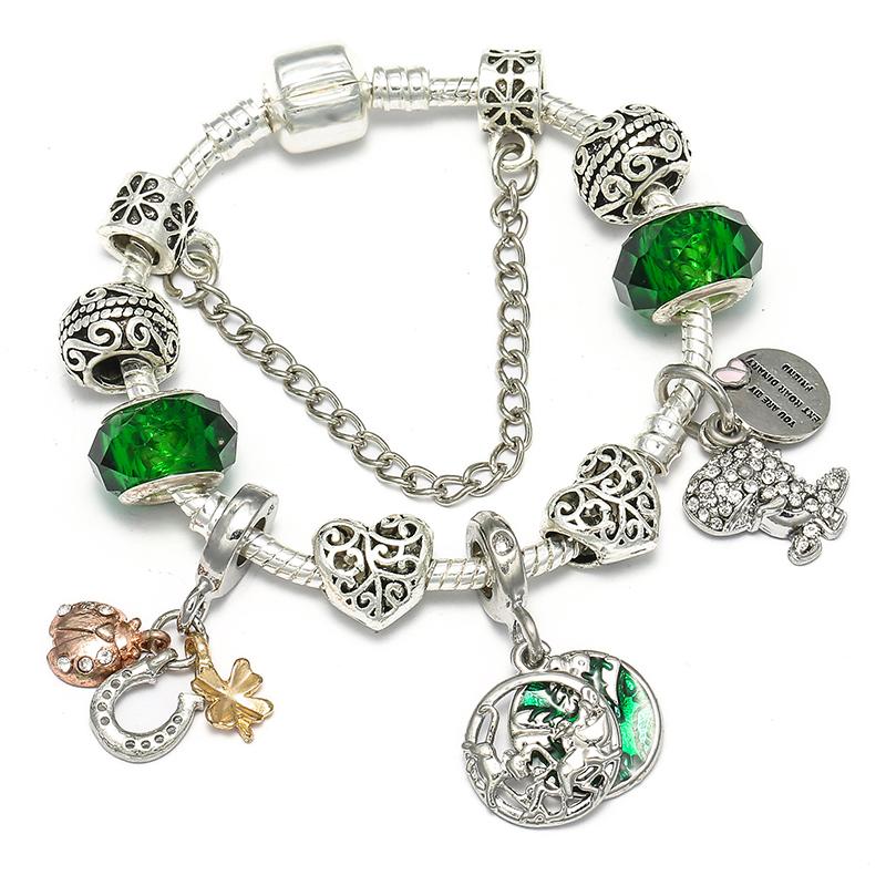 BAOPON Прямая поставка винтажные Подвески серебряного цвета браслеты для женщин DIY Кристальные бусины изящные браслеты для женщин Pulseira ювелирные изделия - Окраска металла: Type 18