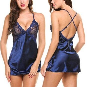 2019 Gecelik Women Ice Silk Nightgown Lace Lingerie Night Dress Sexy Sleepwear Nightdress Lingerie Sexy Silk Chemise Babydolls 1