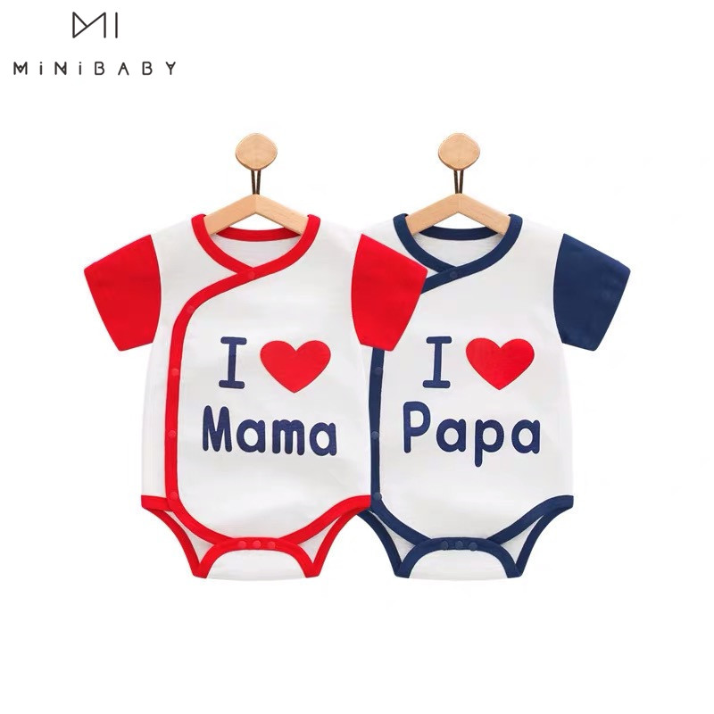 Fashion Twins Baby Clothing Summer Boys Bodysuit Unisex Girls Clothes Funny Newborn -24M Body I Love Daddy Mom Baby Twin Clothes