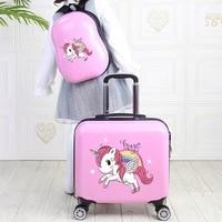 Kinder reise koffer auf rädern 18'' kinder trolley gepäck tasche Cartoon gepäck set Nette tragen auf Kabine koffer rucksack mädchen