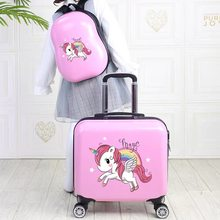 Kids travel suitcase on wheels 18'' children trolley luggage bag Cartoon luggage set Cute carry on Cabin suitcase backpack girls(China)