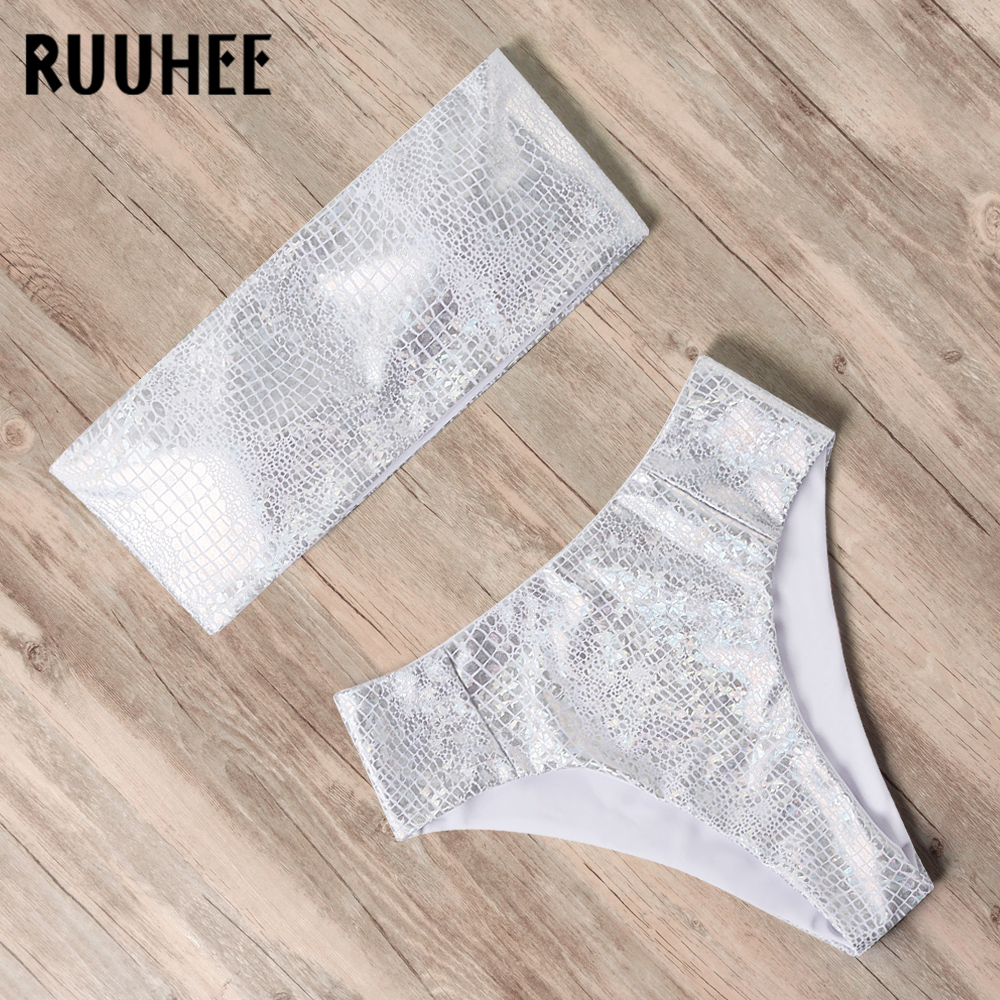 RUUHEE Bandeau Bikini Swimwear Women Swimsuit High Waist Bikini Set 2020 Bathing Suit Push Up Maillot De Bain Female Beachwear