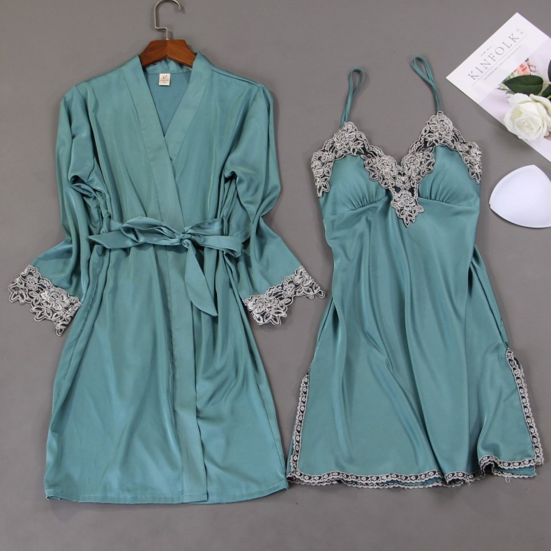 Nighty Robe Set Womens 2PCS Nightshirts Sleep Suit V-Neck Pajamas Silky Sleepwear Homewear Wear Home Nightdress Negligee Gown