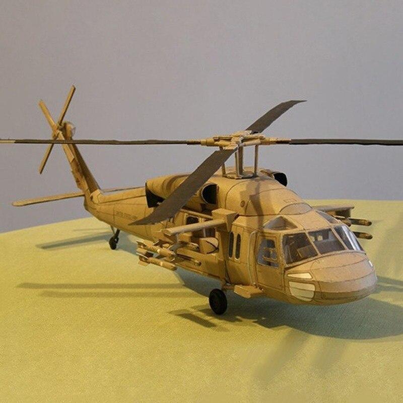 1:33 США Черный ястреб UH 60 вертолет DIY 3D бумажная карточка модель Конструкторы строительные игрушки развивающие игрушки Военная Модель Картонные конструкторы      АлиЭкспресс