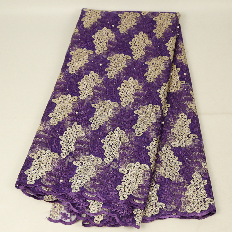 Purple Luxury Lace Fabric Nigerian French Lace Fabric For Wedding Party Dresses Latest African Tulle Lace With Stones