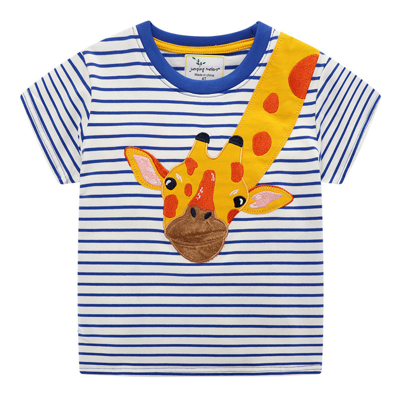 Heee4ca27436648d2b6580a93e2380916S jumping meters Baby Boys Cartoon T shirt Kids New Tees Short Sleeve Summer Clothes With Printed Dinosaurs Children T shirts