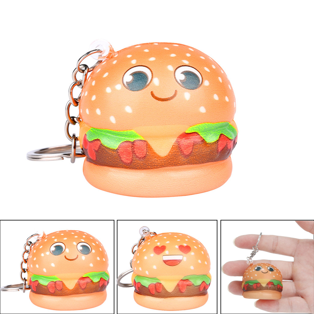 New Funny Spoof Tricky Gadgets Kawaii Cartoon Hamburger Toy Stress Slow Rising Keychain Keyring Relief Gift L1216