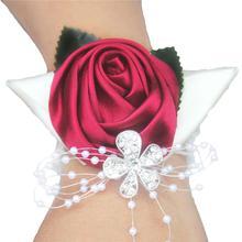 5piece/lot Bride Wedding Wrist Corsage Flower Silk Ribbon Rose Bridesmaid Bracelet Crystal Hand Decorative Party SW0677Y-2