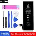 Новый 100% класса AAA аккумулятор для телефона iPhone 6 6S аккумулятор 6plus 5se 5S встроенный литиевый аккумулятор с набором инструментов для ремонта и ...