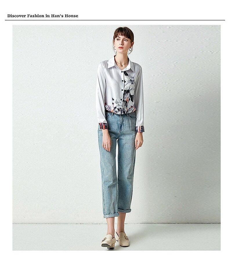 Блузка женская с отложным воротником и длинным рукавом 100%