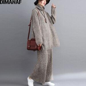 Image 5 - DIMANAF בתוספת גודל נשים סטי חורף בציר סריגה חליפת גדול גודל ליידי חולצות Loose ארוך מכנסיים סוודר גולף נשי בגדים