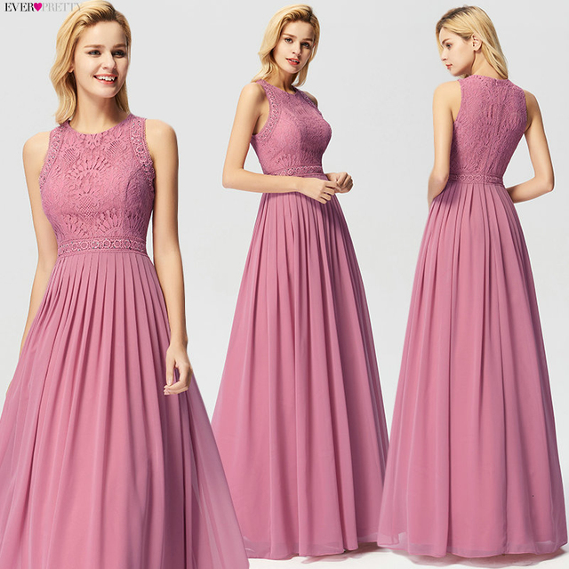 Long Evening Dresses 2020 Ever Pretty Elegant Beading A Line Pleated Chiffon Lace Formal Dress Party Gown EP07391 robe de soiree 3