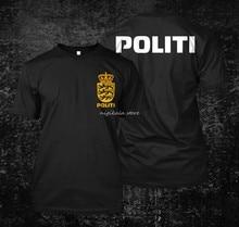 Camiseta personalizada para hombres, ropa de moda, Dansk, danes, barco Politi, camiseta negra del verano