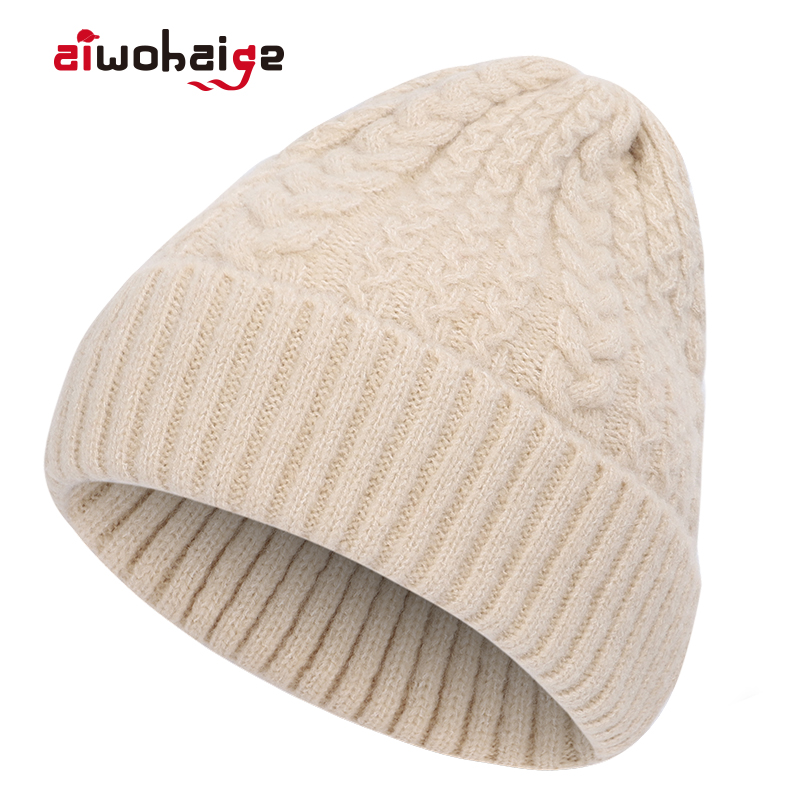 2019 New High Quality Winter Wool Knit Beanie Women Solid Color Crochet Casual Hat Female Soft Warm Thicken Hedging Cap Bonnet