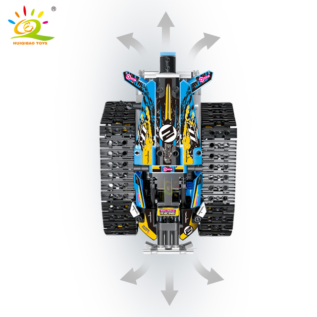 HUIQIBAO 391pcs APP Remote Control Crawler Drive Car Building Block Technic RC Tracked truck Motor Power Brick Toys For Children