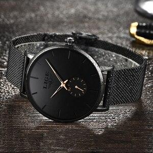 Image 2 - LIGE zegarki damskie Top marka Luxury Casual Fashion zegarek damski zegarek kwarcowy wodoodporny pasek z siatki damskiej zegarek damski