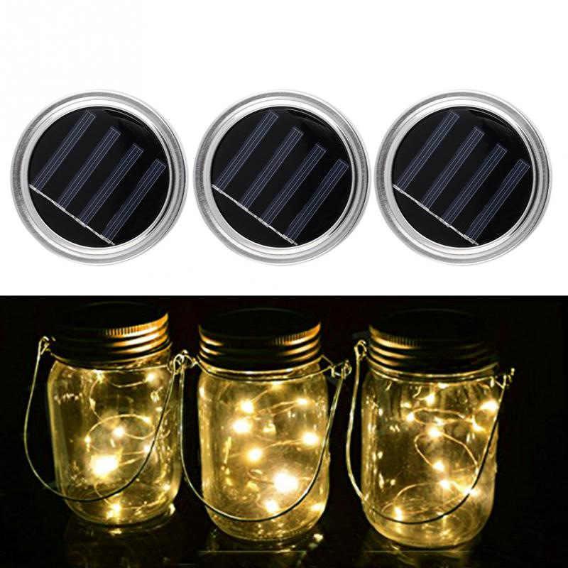 10 Pcs 20LED String Lampu Tenaga Surya untuk Mason Jar Tutup Insert Warna Mengubah Taman Tahan Air Dekorasi Natal Garland