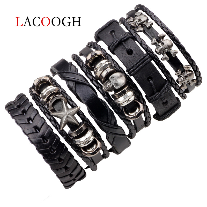Lacoogh 1Set/5-6PCs Punk Rock Skull Star Leather Bracelets For Men Women Gothic Braided Rope Jewelry Gifts Multi Charm Bracelet image