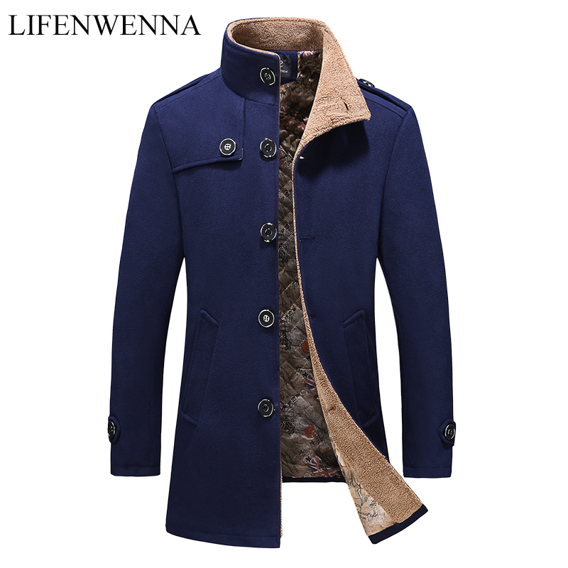 2019 Autumn New Design Wool Blends Coat Men Fashion Solid Slim Fit Single Breasted Outerwear Mens Coat Warm Winter Overcoat 5XL