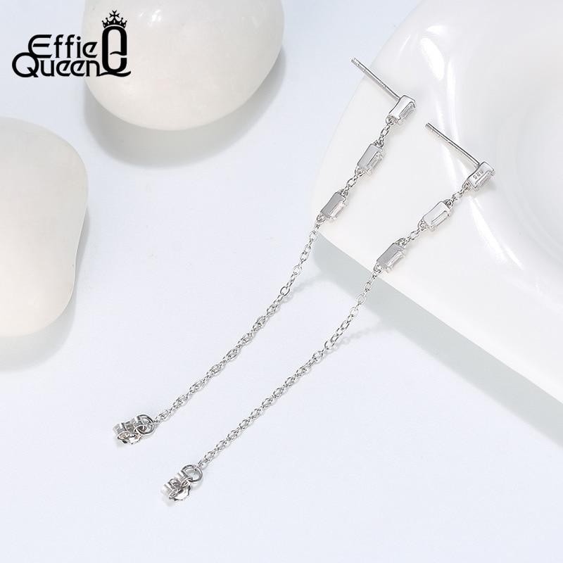 Effie Queen 925 Silver Chain Earring Texture Dangle Long Drop Earring With AAAA  Zircon Earring Jewelry Party Gift BE238 1