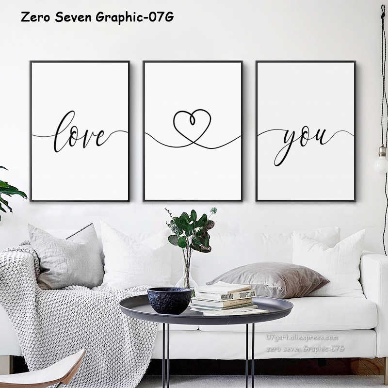 Black And White Sweet Phrase Love You Custom Date Canvas Painting Poster Print Living Room Bedroom Wall Art Picture Home Decor