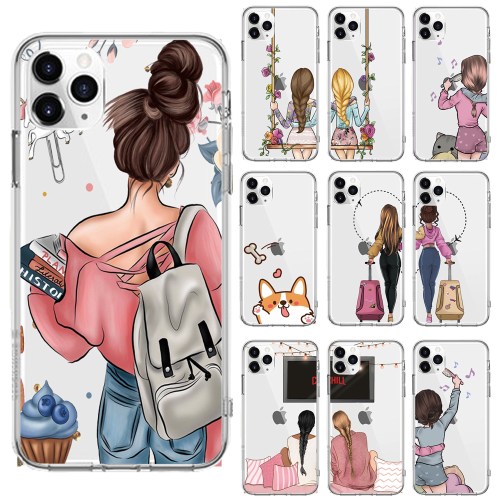 Girls Best Friends Forever Soft TPU Phone Case For IPhone Xs 6 6S 7 8 Plus X XR XS MAX 11 Pro Max 5 5S SE Cases Back Cover Coque