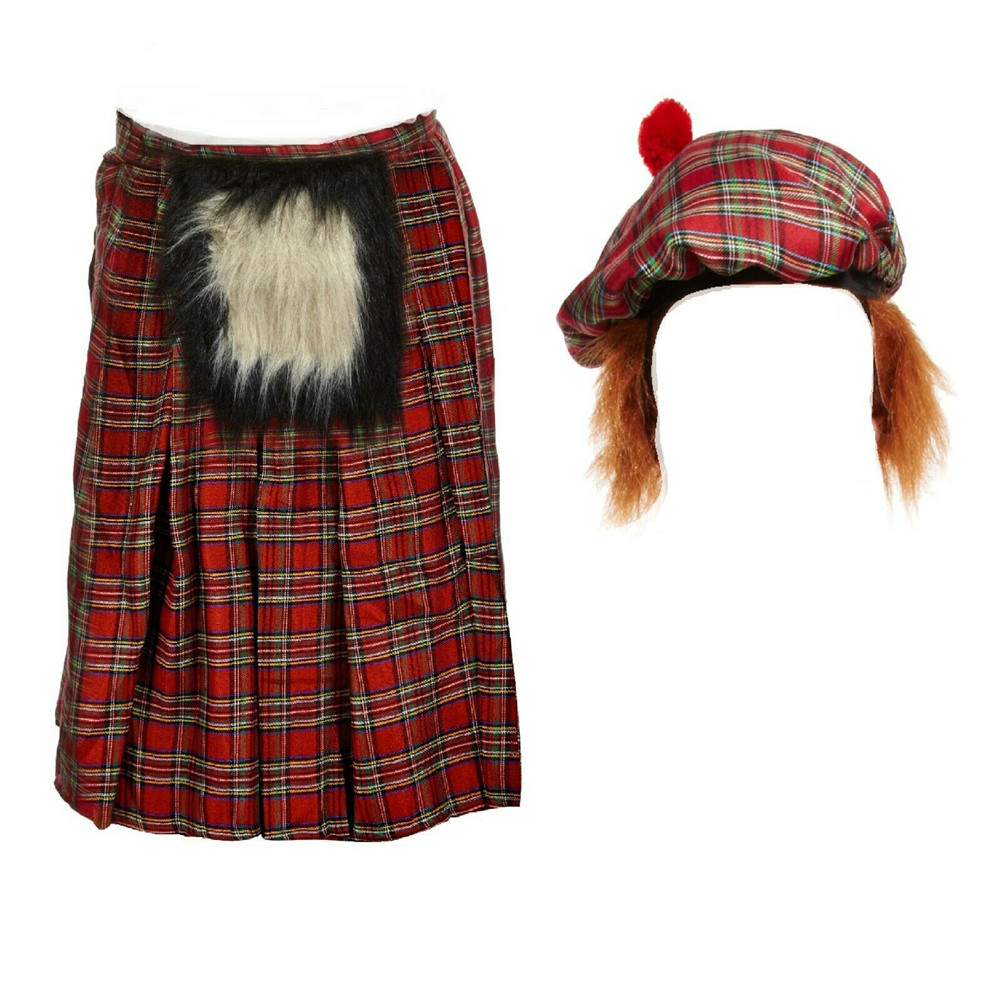 Fancy Dress Scottist Kilt Viking Tartan Hat Scotsman Cup With Hair Party Item