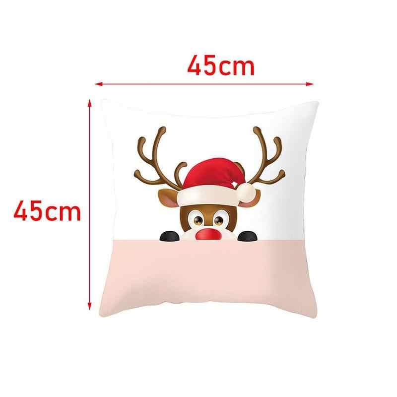 45*45 Vrolijk Kerstfeest Gedrukt Polyester Decoratieve Kussens Kerst Kussenhoes Sofa Decoratie Kussensloop
