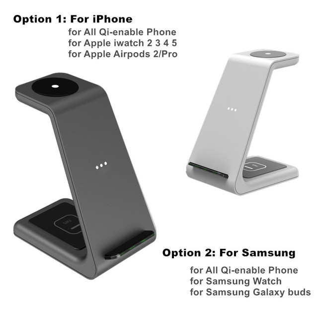 3 in 1 Wireless Charger 10W Fast Charging for iPhone 11 pro/XR/Xs Max Samsung for Apple Watch 5 4 3 Airpods pro with EU Charger 2
