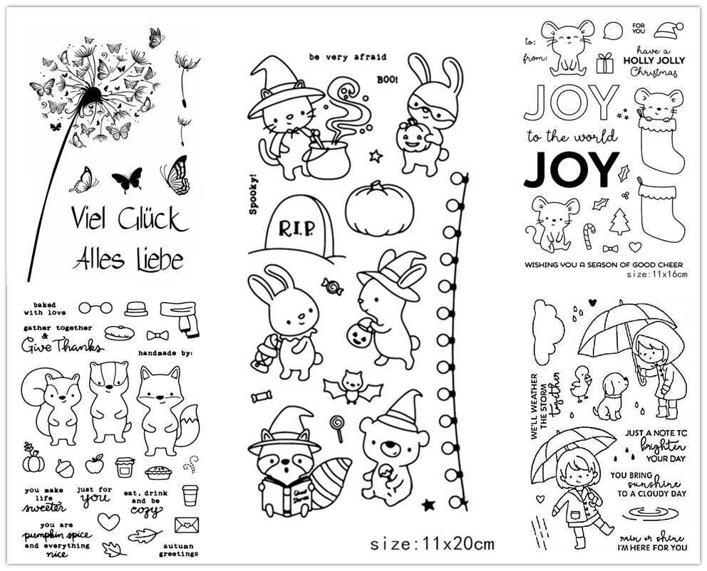 ZhuoAng Lovely Animals/Halloween/Christmas Clear Stamps For DIY Scrapbooking/Card Making/Album Decorative Silicone Stamp Crafts