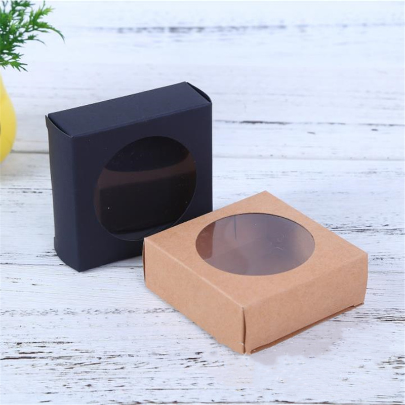 6 Sizes Transparent PVC Window Soap Boxes Kraft Paper Box Jewelry Gift Packaging Wedding Favors Candy 50pcs/lot