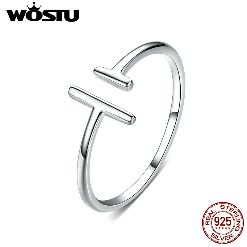 WOSTU Genuine 100% 925 Sterling Silver Wedding Rings Parallel Lines Adjustable Rings For Women Fashion Original Jewelry CQR555