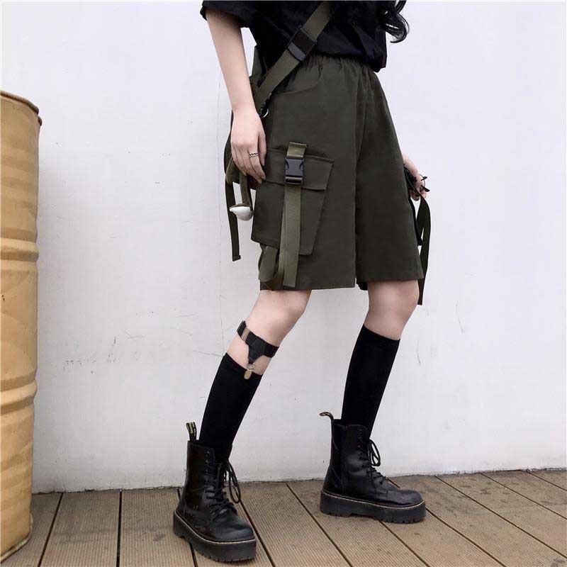 cargo shorts korean Harajuku Women's Clothing Couple streetwear big pockets casual ribbon high waist Capris Women Unisex summer