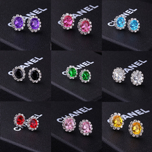 Oval creative fashion rhinestone multicolor earrings sweet cute girl earrings