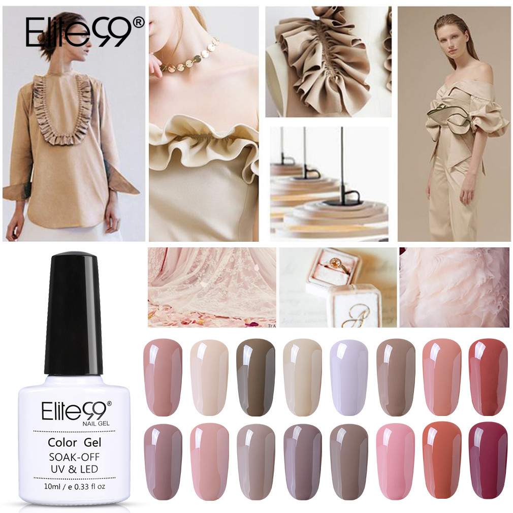 Elite99 Nude Color 10ml Gel Polish Vernis Semi Permanent UV Gel For Nail Art Gel Varnish Soak Off Nail Primer Gel Lacquer-in Nail Gel from Beauty & Health