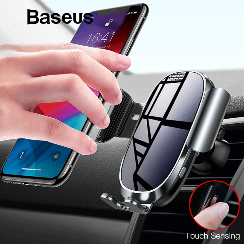 Baseus Electric Car Phone Holder For IPhone 11 Samsung Air Vent Mount Intelligent Touch Sensor Mobile Phone Holder Stand