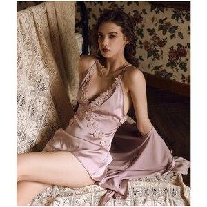 Image 5 - Munllure Gợi Cảm Suspender Mùa Xuân Mỏng Phần Băng Lụa Váy Ngủ Nhà Dịch Vụ Ren Dây Lưng Đẹp Cám Dỗ
