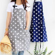 Adjustable Sleeveless apron Five-pointed Star Print High Quality Cotton Waterproof Women Cleaning Apron Cooking work kitchen bib