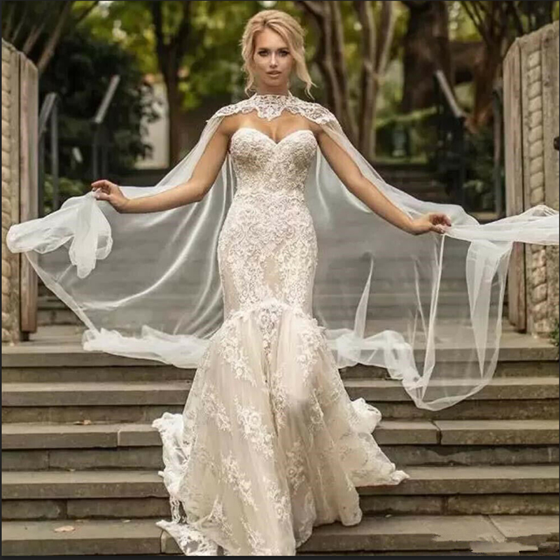 Appliques Bridal Cloak Long Tulle Jackets High Neck White Ivory Capes Wedding Accessories