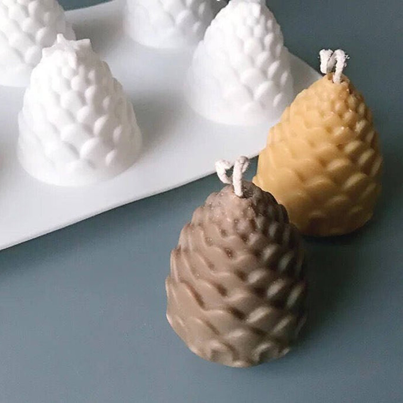 SILIKOLOVE 6 Cavities Pine Cones Silicone Mold For DIY Handmade Candle Making 3D Candle Molds Silicone Wax Mold