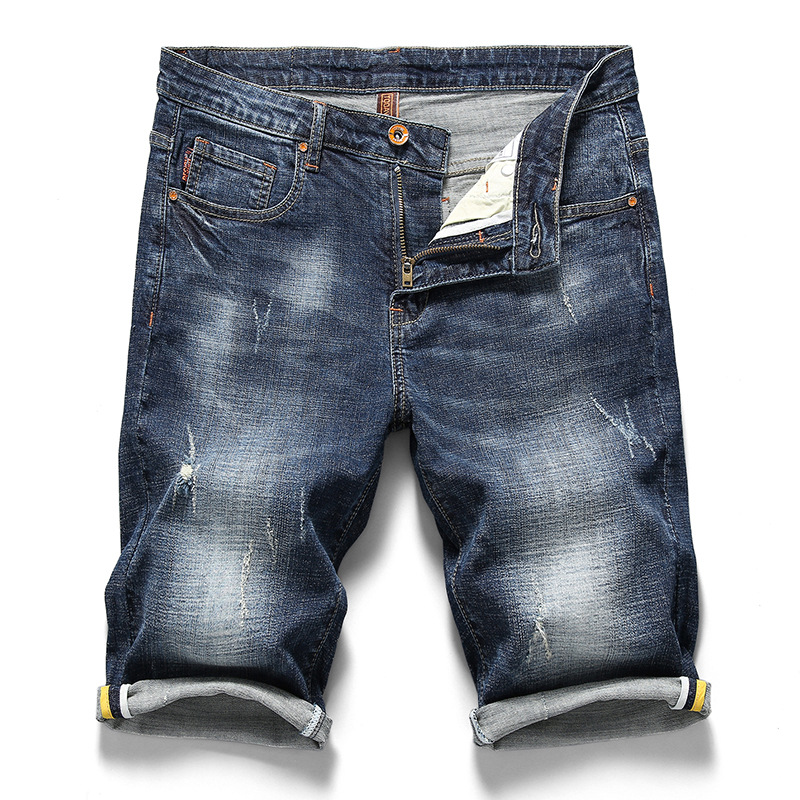 2019 New Style Summer MEN'S Jeans Shorts Thin With Holes 5 Pants Men's Short Elasticity Straight-Cut Ripped Jeans