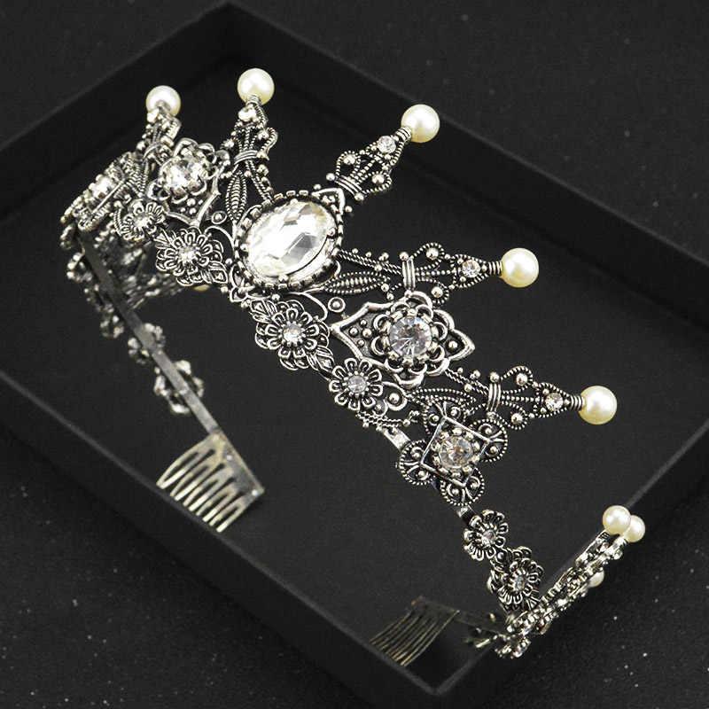 FMSWD mode rétro Imitation perle de mariage couronne princesse cheveux peigne tiare à la main en cristal mariée cheveux accessoires HG177/HG178