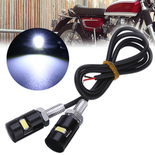 For ATV Quad Off road 1Pair 12V LED Motorcycle Car License Plate Screw Bolt Light Bulb Black Housing White Lamp Mayitr