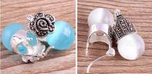 Jewelry Jade Earring Vintage Women's white/blue Opal 925 Sterling Silver Marcasite Earrings Free Shipping(China)