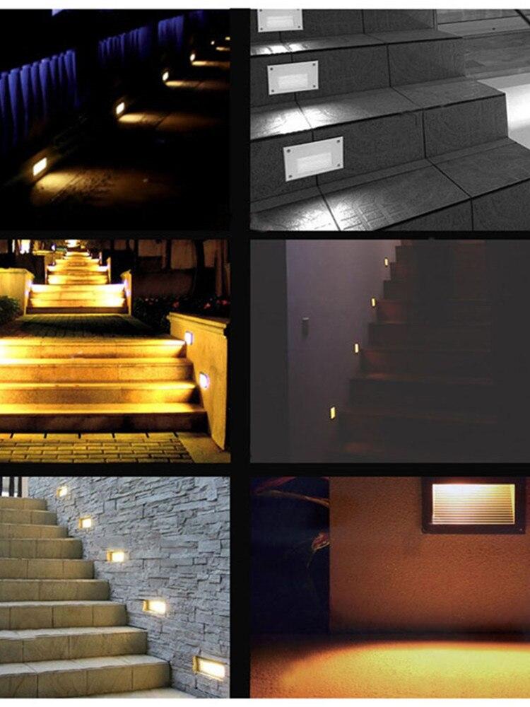 passo luz ip67 alumínio embutido escada lâmpada