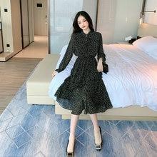 Женское шифоновое платье во французском ретро стиле весенне