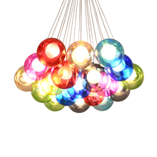 Nordic colored glass ball bubble chandelier LED creative fashion cafe bar restaurant