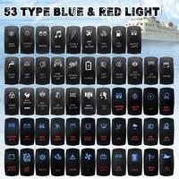 O barco do carro conduziu o interruptor de balancim vermelho azul luzes 12 v 24 v 5 pinos interruptor de balancim botão para a caravana marinha 4x4|Chaves do carro e relé| |  -